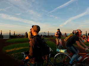 Bikers celebrate at the top of Rocky Butte during last year's Sunset Ride. (This year's is this Friday.