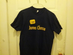 """I am James Chasse"" shirt that I bought at In Other Words, in Portland"