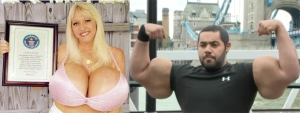 World record holders for breast implant and bicep size.