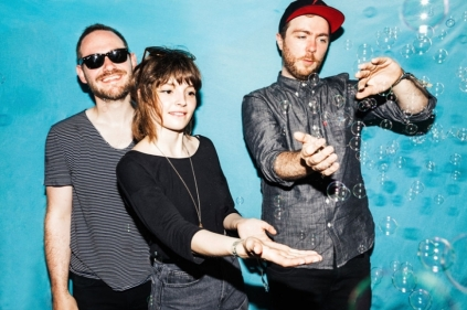 From left: Iain Cook on guitar, Lauren Mayberry on vocals and synthesizer & Martin Doherty on synthesizer