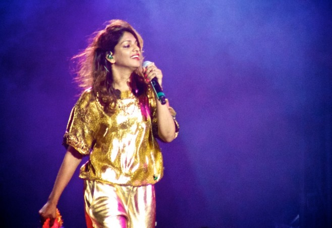 M.I.A performing at the mainstage at Sasquatch in the Gorge.