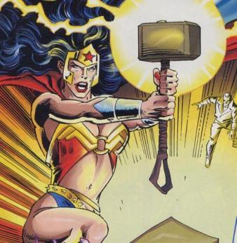 Wonder Woman Wielding Mjornin