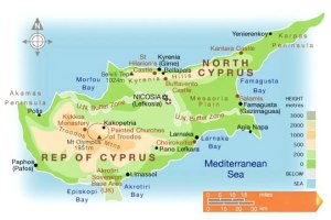 Map of Cyprus, ©Ercan Airport, 2008-2010.