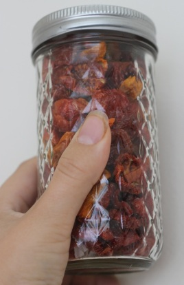 holding jar of sun-dried tomatoes