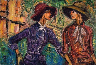 Allen Forrest. Women Wearing Hats 2, oil on canvas, 20 x 30