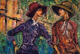 Allen Forrest. Women Wearing Hats 2, oil on canvas, 20 x 30