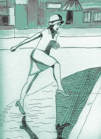 Allen Forrest. Puddle Jump, from Berlin in the 1920s, ink on paper 12 x 9 digital overlay, 2013