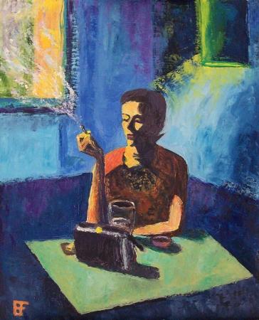 Allen Forrest. Dana, oil on canvas panel, 20 x 16